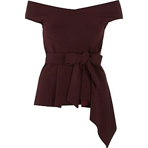 Dark red asymmetric peplum hem bardot top