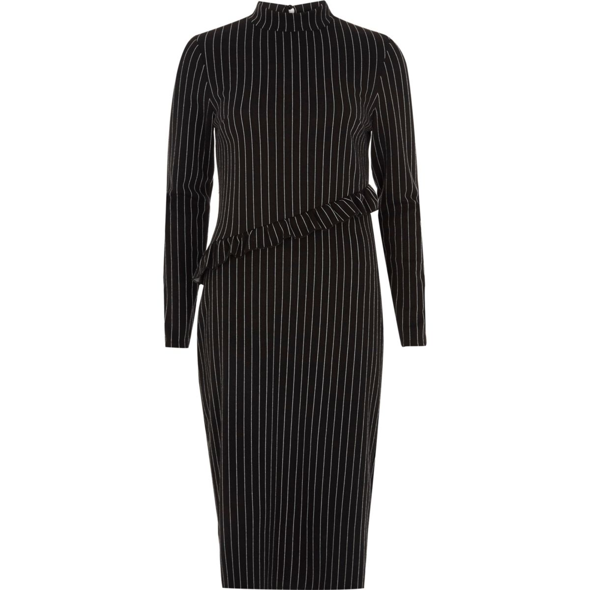 Black pin stripe high neck frill midi dress