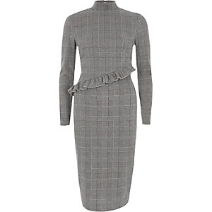Grey check frill high neck midi dress