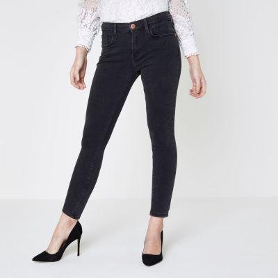 Only acid washed skinny jeans schwarz