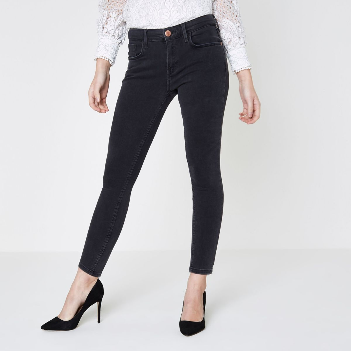 RI Petite - Amelie - Zwarte washed superskinny jeans