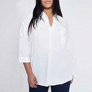 Plus – Weiße, lockere Bluse mit überkreuzter Rückseite