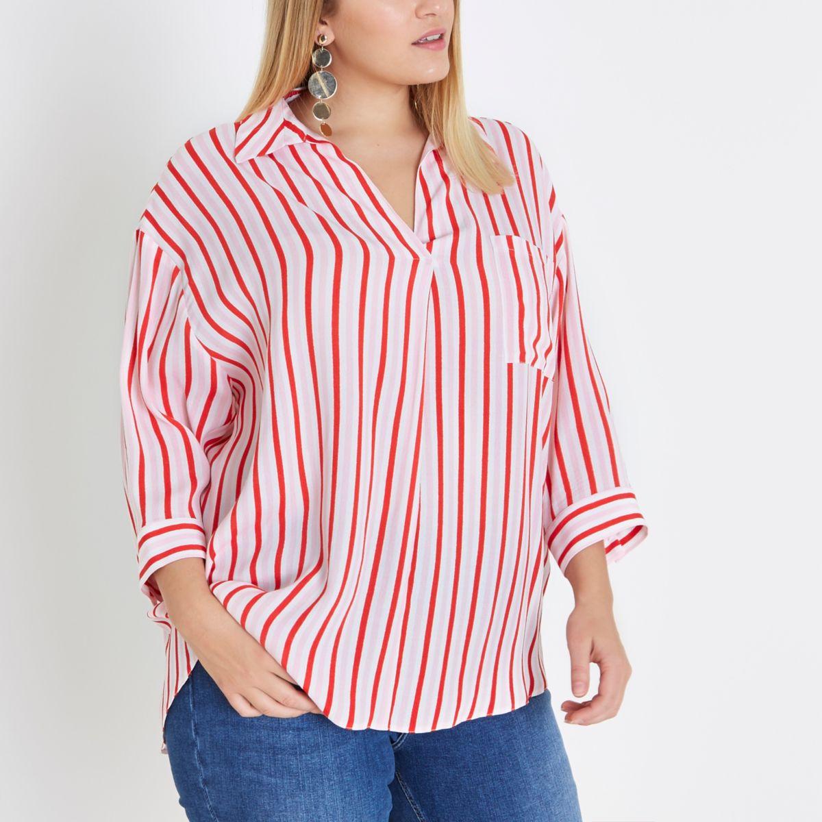 Plus pink stripe cross back shirt