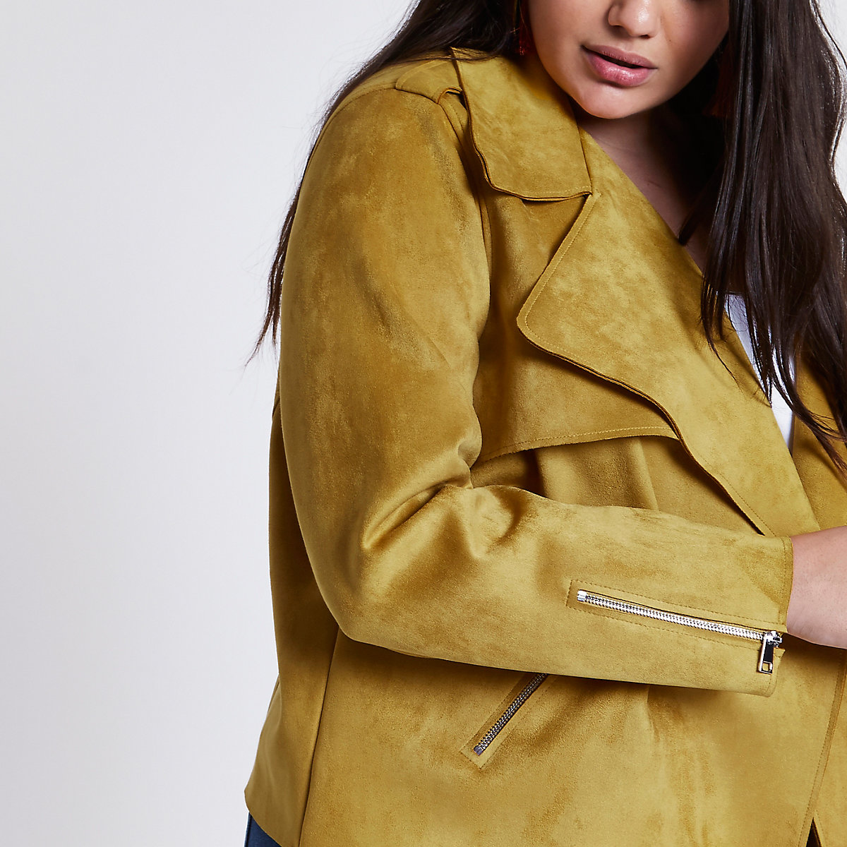 Plus mustard faux suede cropped trench jacket