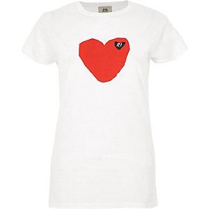 Wit T-shirt met hart en 'RI'-print en korte mouwen