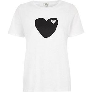 White 'RI' heart print fitted T-shirt