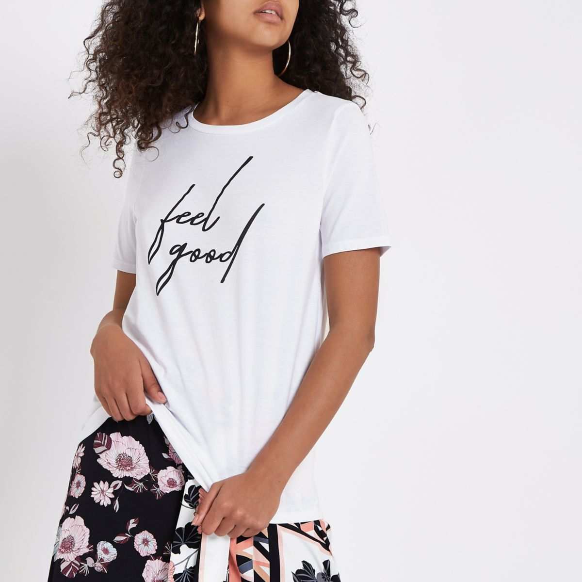White 'feel good' print fitted T-shirt