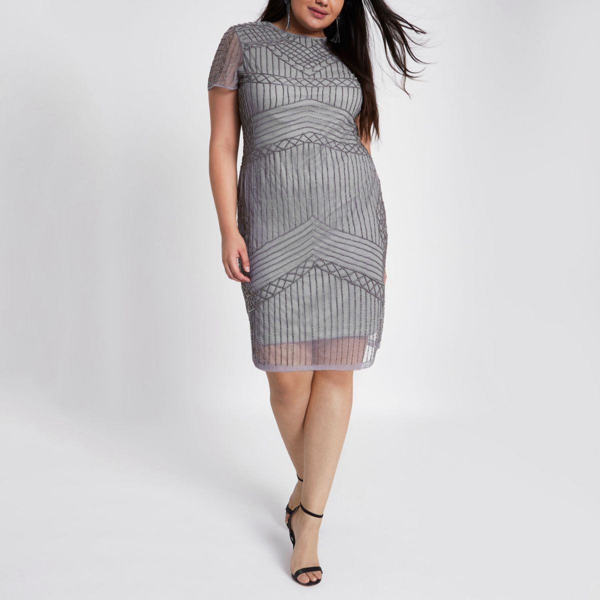 Plus grey beaded bodycon mini dress