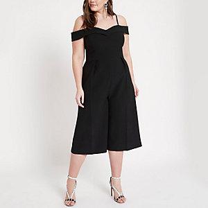 Plus – Combinaison Bardot noire style jupe-culotte