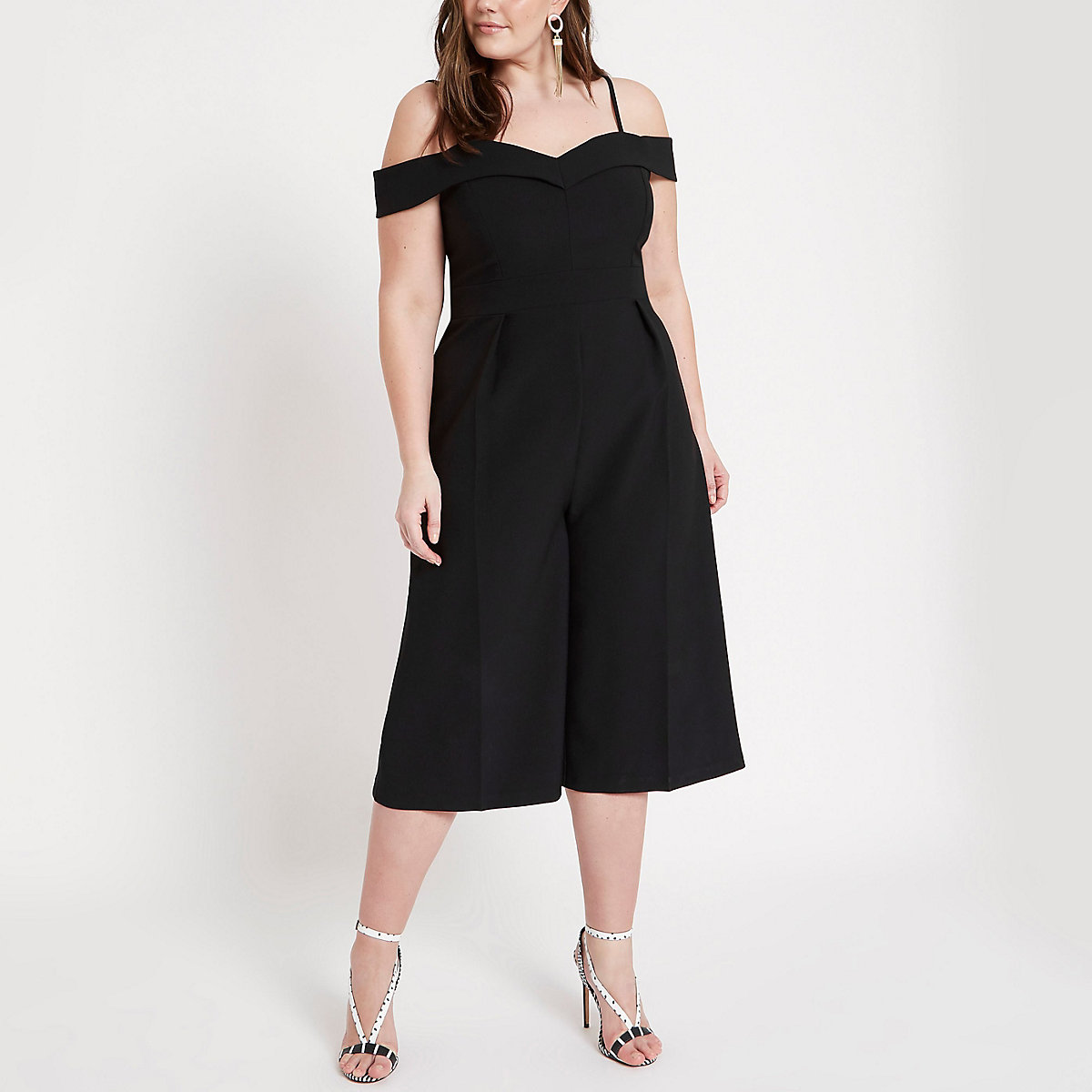 Plus black bardot culotte jumpsuit