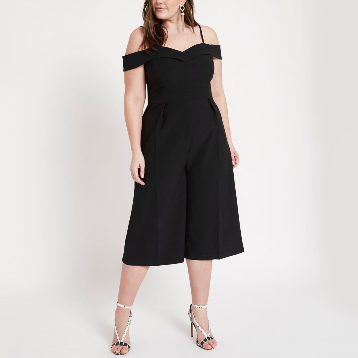 Plus black bardot culotte jumpsuit