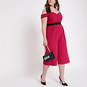 Plus – Combinaison Bardot rose style jupe-culotte