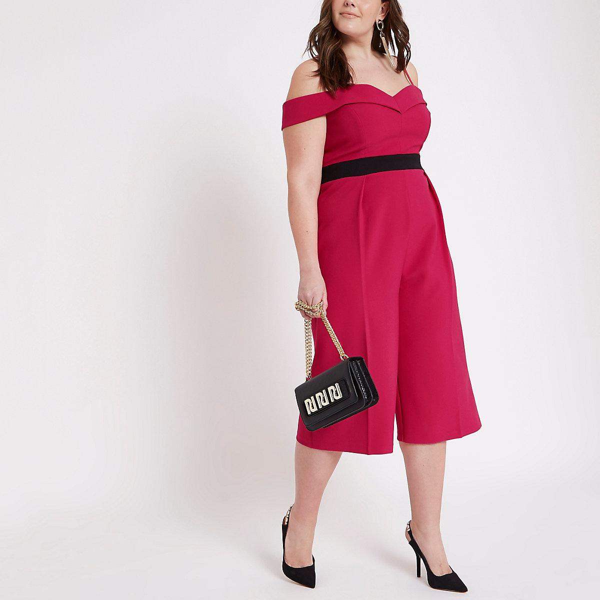 Plus pink bardot culotte jumpsuit