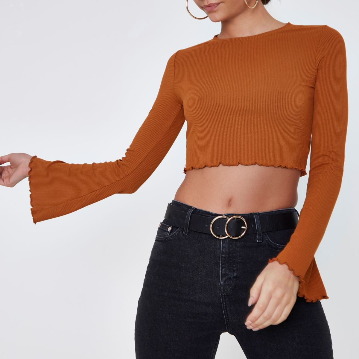 Tan rib bell sleeve frill edge crop top