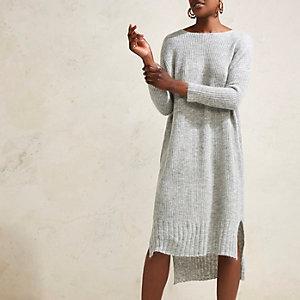 RI Studio – Robe pull longue en maille grise