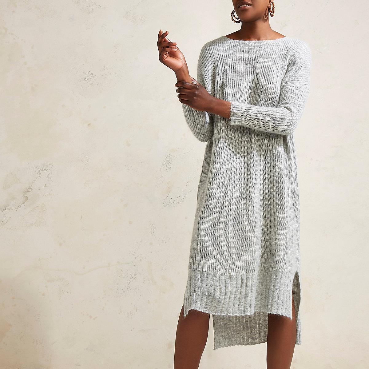 RI Studio - Grijze gebreide maxi trui-jurk