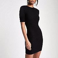 Black brushed rib bodycon dress