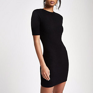 Black brushed rib bodycon dress