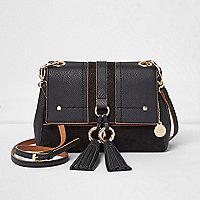 Black double ring tassel crossbody bag