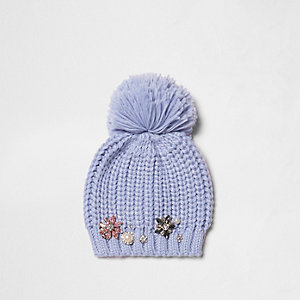 Blue pom pom bobble beanie embellished hat
