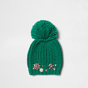 Green pom pom beanie jewel embellished hat