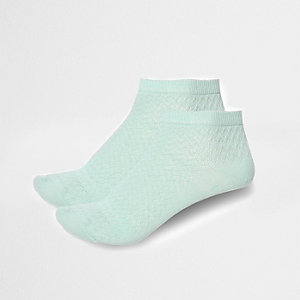 Mint green textured sneaker socks multipack