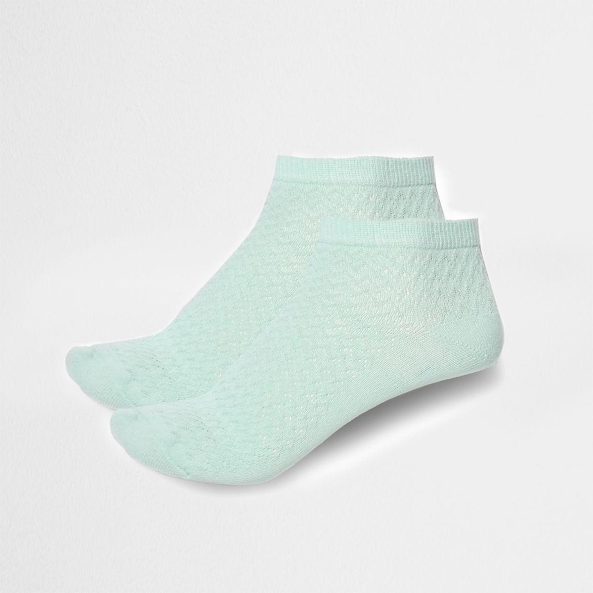 Mint green textured sneaker socks multipack