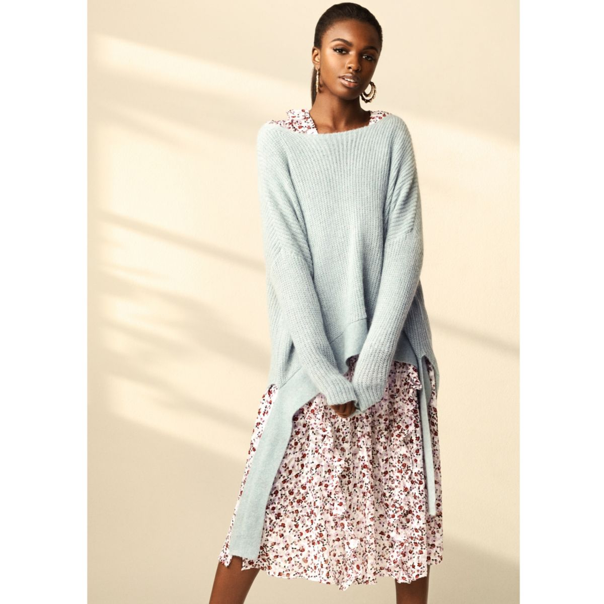 Light blue RI Studio high low hem sweater