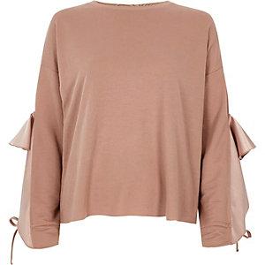 Pink satin frill sleeve sweatshirt