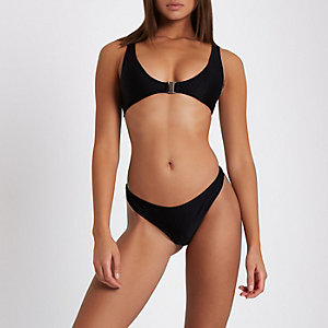 Black ribbed thong bikini bottoms