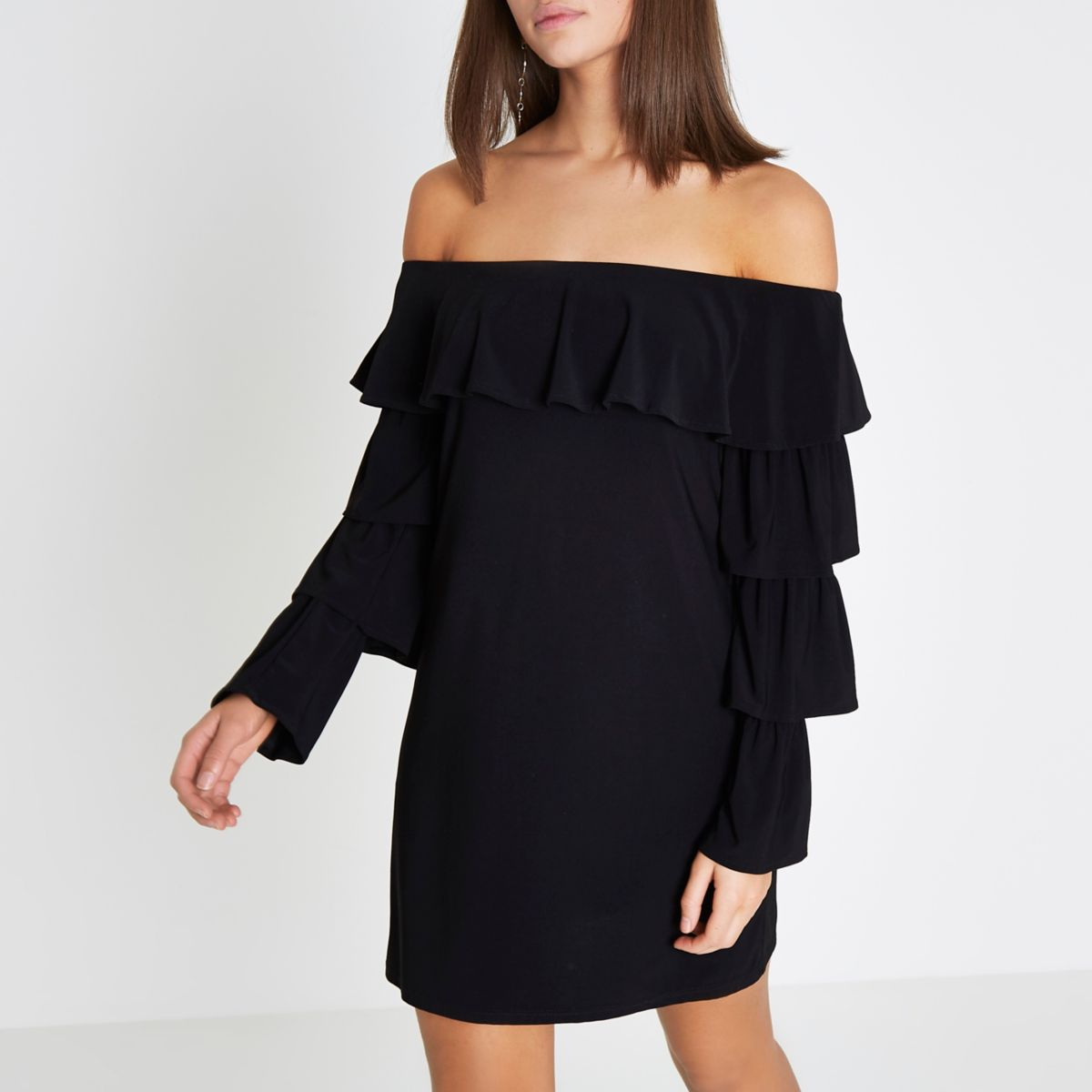 Black bardot frill tiered sleeve mini dress
