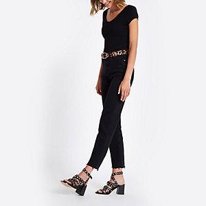 Black scoop neck short sleeve bodysuit
