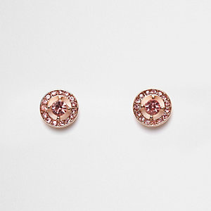 Pink diamante circle stud earrings