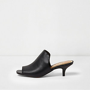 Black kitten heel peep toe mules