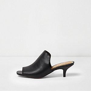 Mules peep toe noires à petits talons
