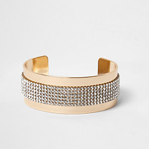 Gold tone diamante heatseal cuff bracele