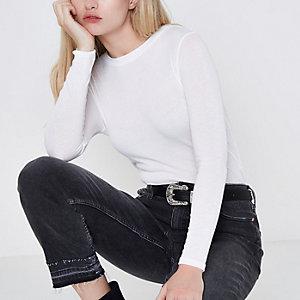 Weißes, langärmliges Jersey-T-Shirt