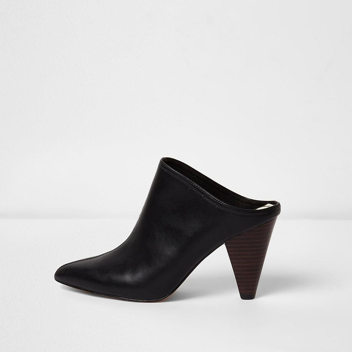 Black pointed toe cone heel mules
