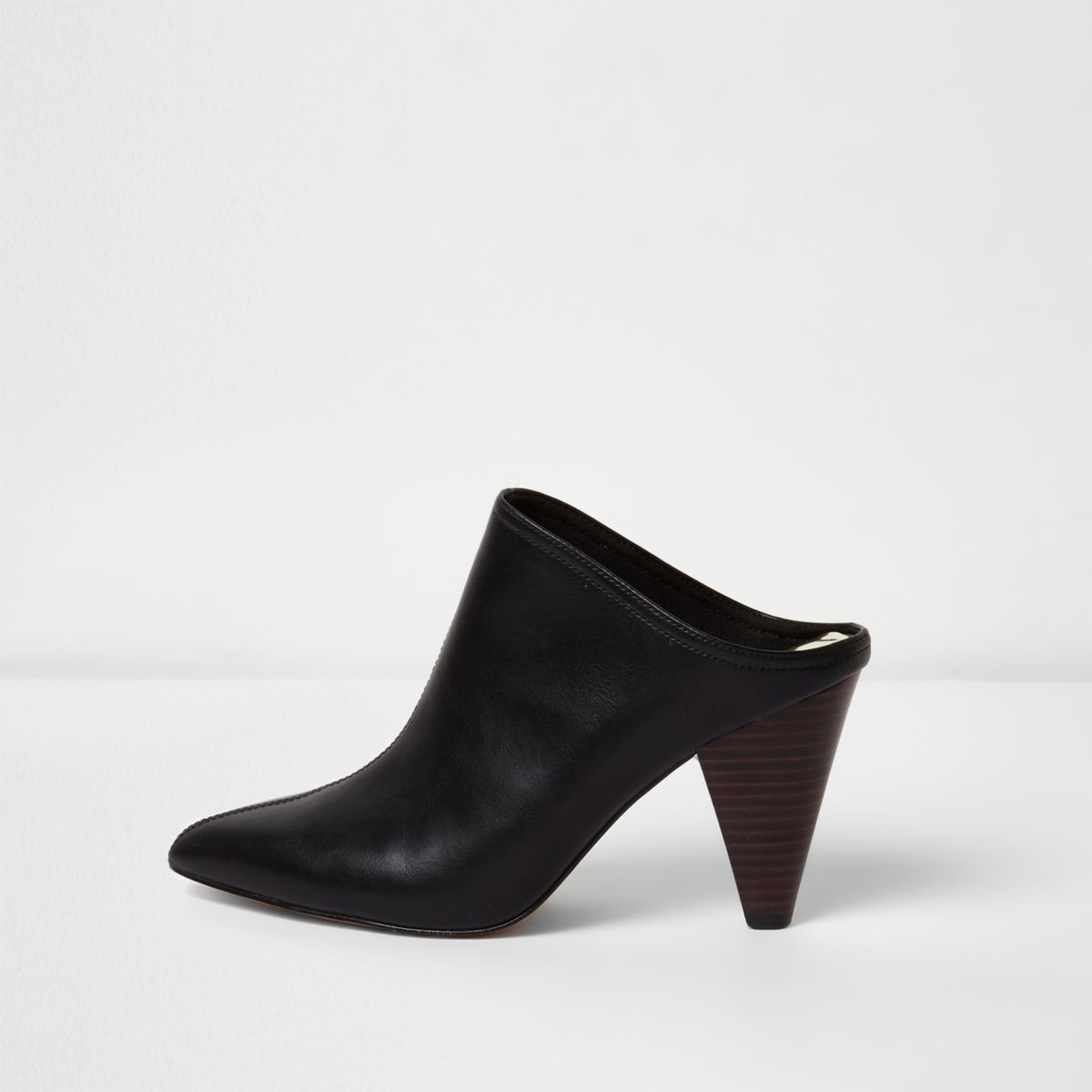 Black pointed toe cone heel mules