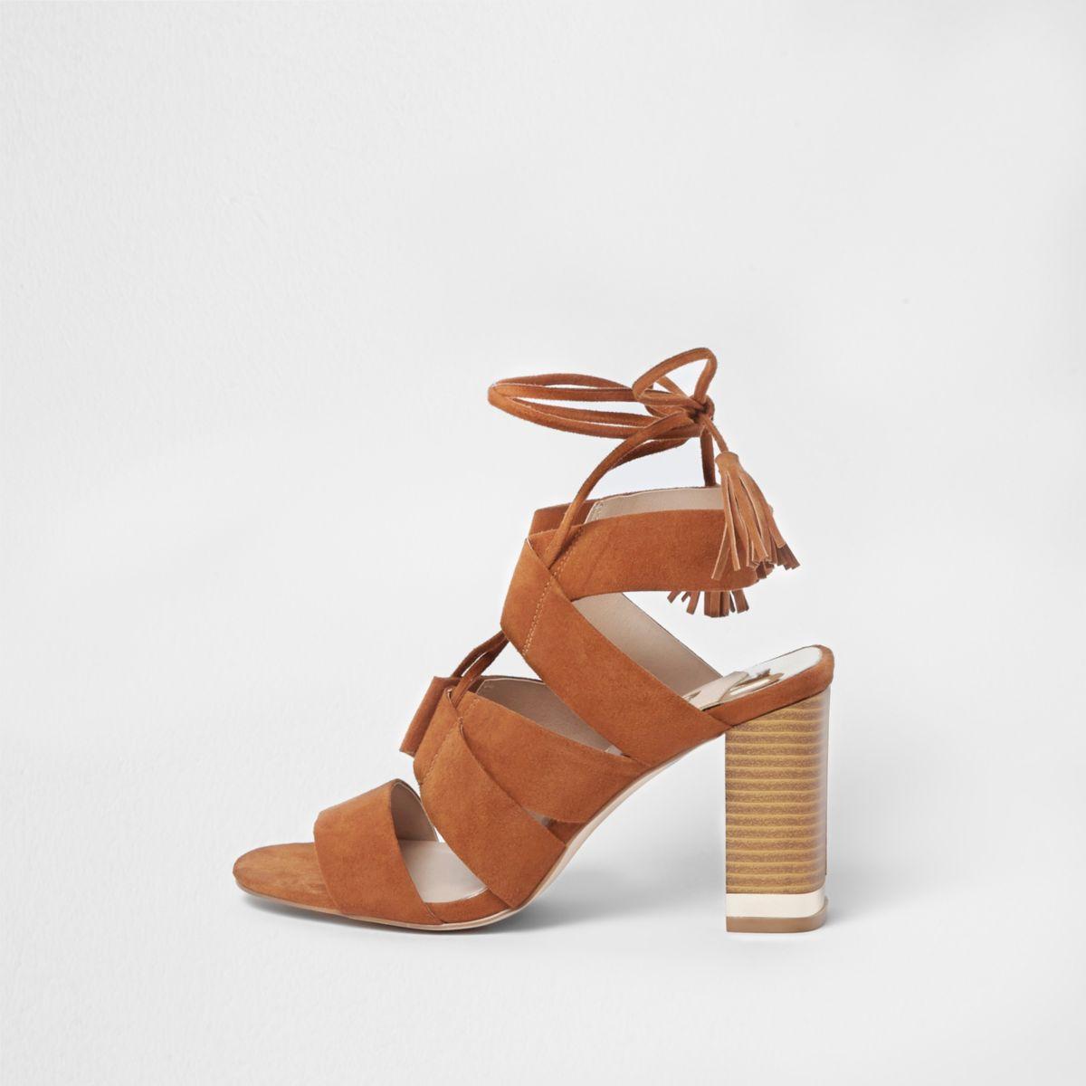 Tan tie up block heel sandals