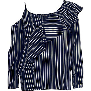 Navy stripe one shoulder frill top