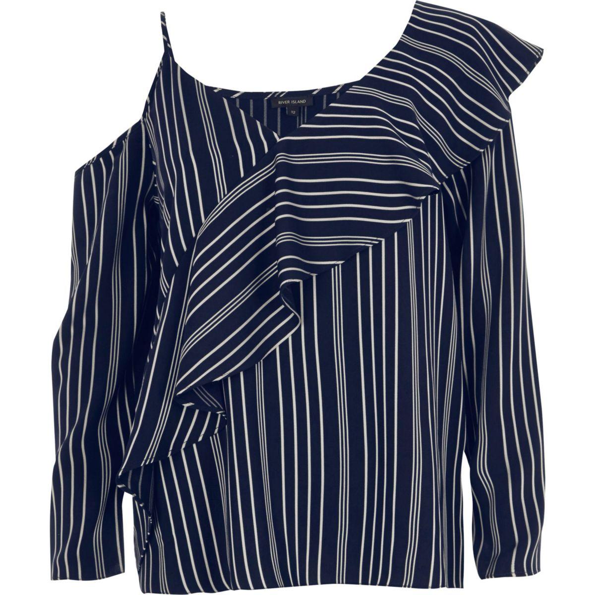 Navy stripe one shoulder frill top