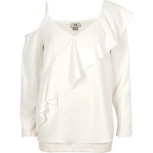 Cream asymmetric frill cold shoulder top