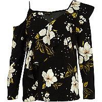 Black floral asymmetric cold shoulder top
