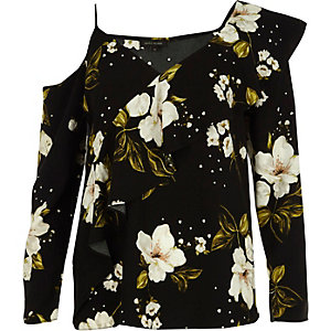 Black floral asymmetric cold shoulder top