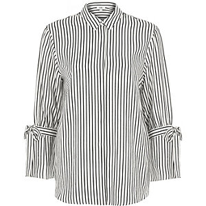White stripe print tie sleeve shirt