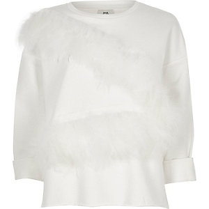 White feather front raw hem sweatshirt