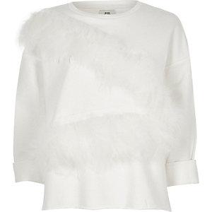 White feather front raw hem sweatshirt