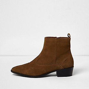 Tan suede wide fit western ankle boots