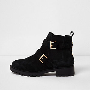 Black suede buckle chunky ankle boots